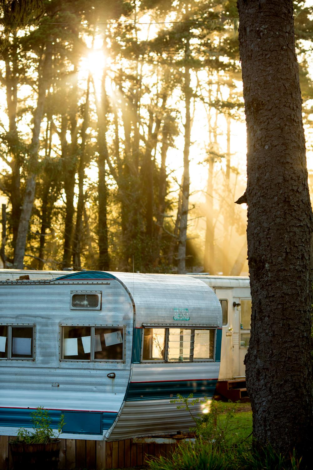 25 Vintage Travel Trailers scatter the grounds of the Sou'Wester Lodge in Long Beach, WA. The accommodations also include five rooms in the lodge, and four cabins, with vintage record players and VHS TVs that you can check out at your leisure. More info at souwesterlodge.com. (Sy Bean / Seattle Refined)