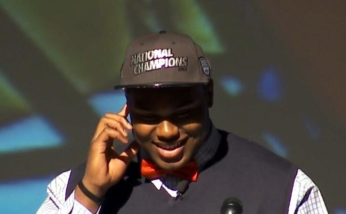 Muscle Shoals High defensive tackle Dee Liner talks to ESPNU host Rece Davis after signing his letter of intent to play football at the University of Alabama on National Signing Day, Wednesday, February 6, 2013.