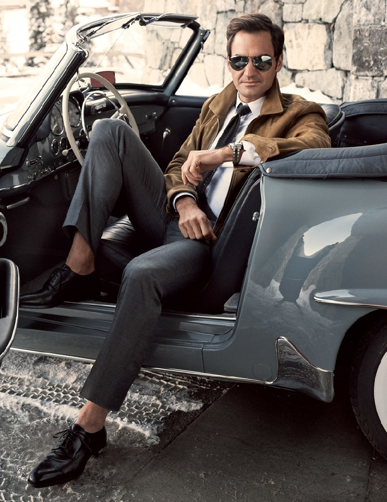 Photo source: GQ Magazine                     Jacket, $5,990, Tom Ford + shirt $570 tie $220 pants $1,560 shoes $1,790 by Tom Ford / Sunglasses by Ray-Ban / Watch by Rolex / 190 SL Roadster (1955) Mercedes-BenzDALiM