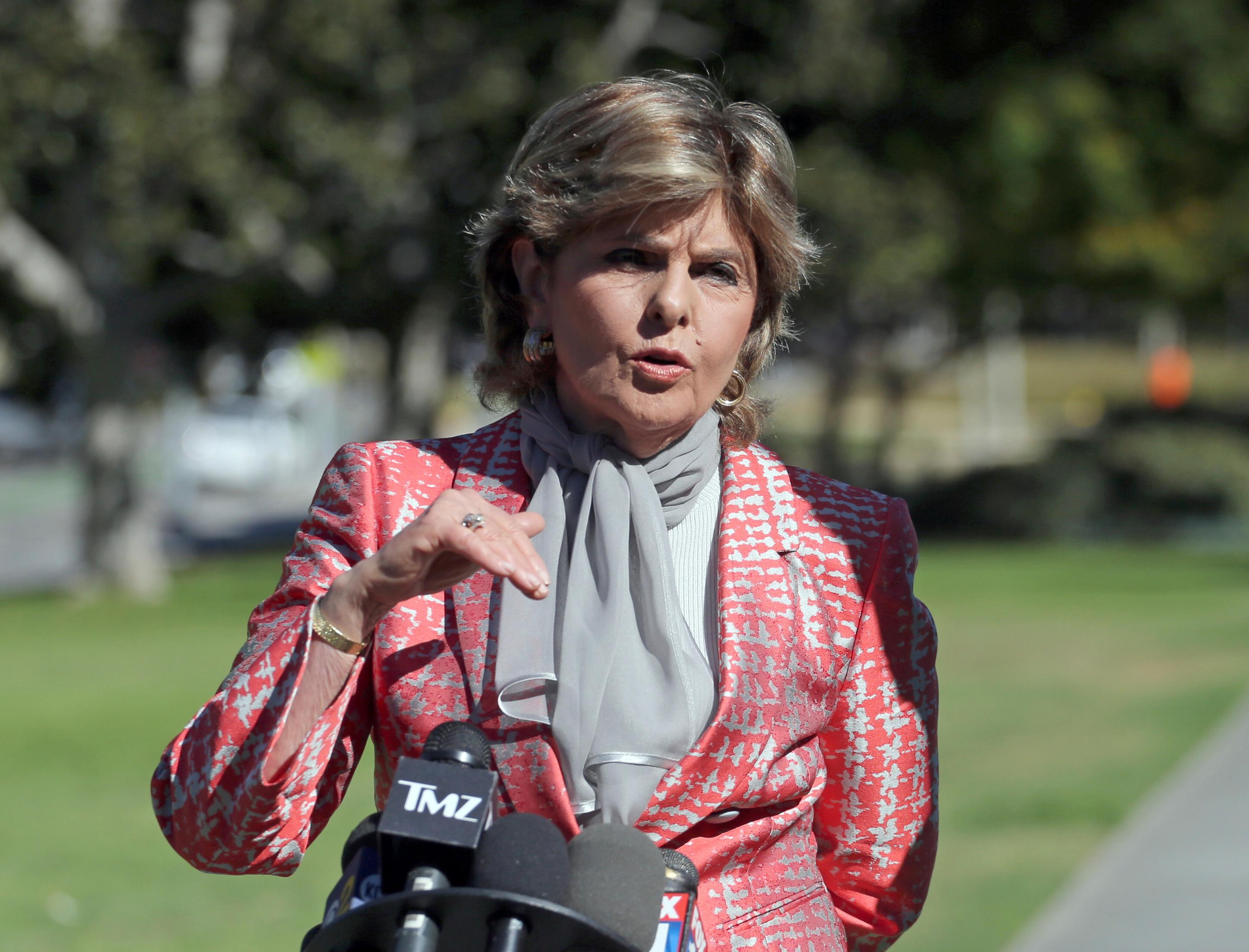 Gloria Allred, attorney for Judy Huth, who alleges entertainer Bill Cosby sexually assaulted her at the Playboy Mansion more than 40 years ago, speaks outside Los Angeles Superior Court after a hearing, Tuesday, June 27, 2017, in Santa Monica, Calif. The purpose of the hearing was to set a trial date in the civil case. (AP Photo/Reed Saxon)