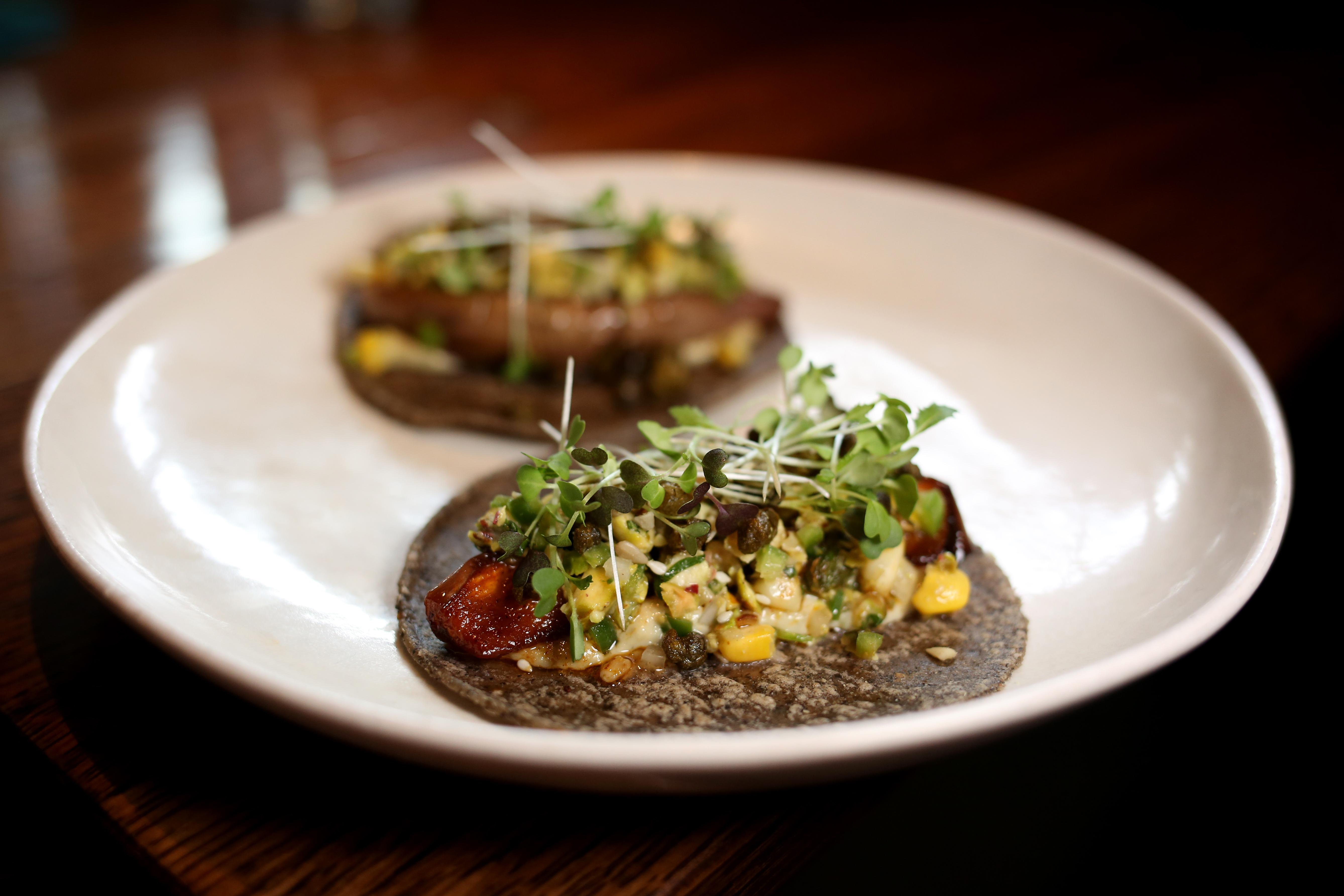 The fairytale taco is, as the name suggests, a little whimsical. However, the pepita-sesame crema keeps it rooted in tradition. The grilled eggplant is also meaty, making it a good option for hungry vegetarians. (Amanda Andrade-Rhoades/DC Refined)