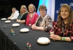 Good Day Wisconsin Broadway Nights finalists Marilyn Miller, Coree Wallander, Jill Bowers, Helen Raddant and Coreen Jorgensen pose before digging into their pies April 13, 2017, at the Fox Cities Performing Arts Center in Appleton.