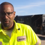 Garbage truck driver plays basketball with kids on his shift