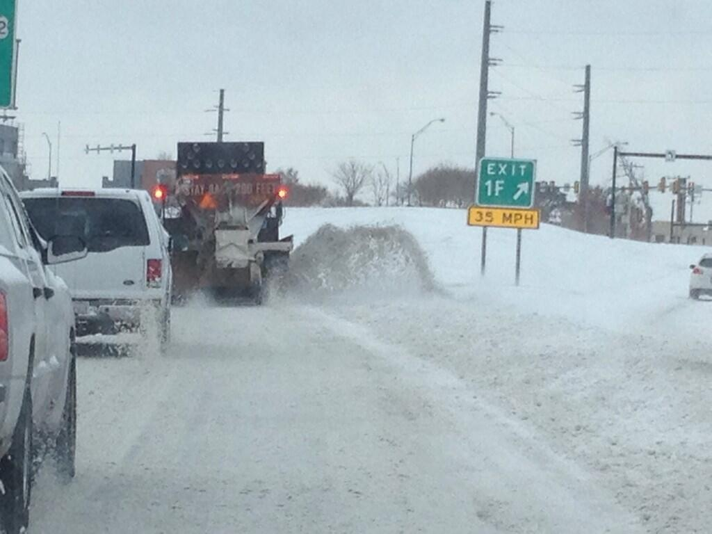 Snow plow on SB I235 near downtown 845 AM