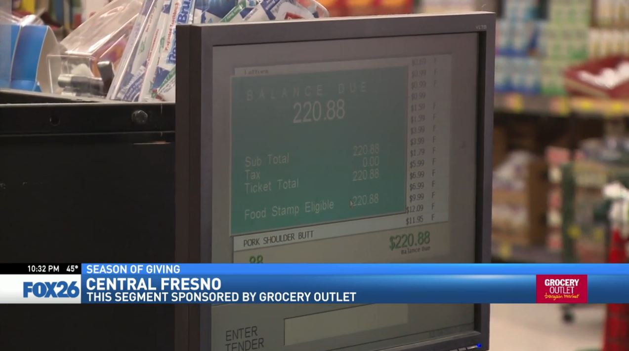 Her grocery bill totaled almost $221, but Liz told her to keep her money because Grocery Outlet and FOX26 were going to pay.