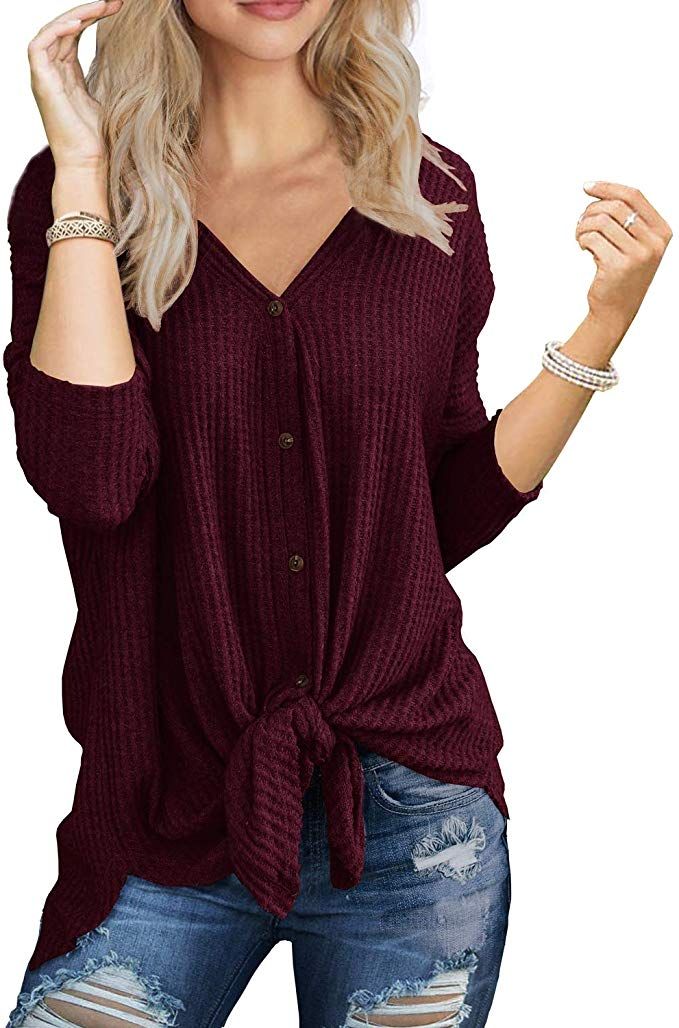 Love this Tie Knot Henley Top, super versatile.{ }Shop it{ }- $19.99 (Image: Amazon){ }