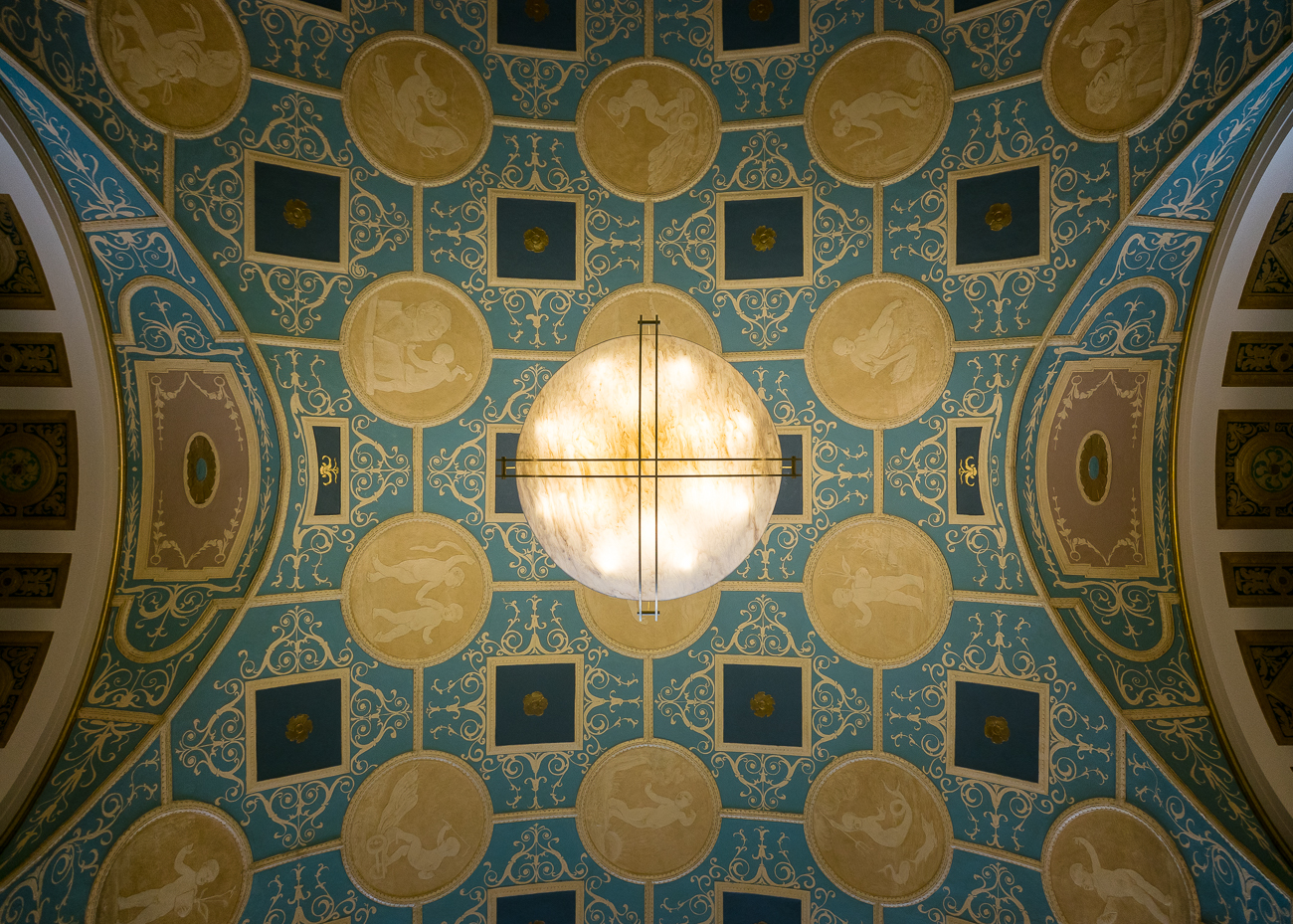 There is no shortage of beauty inside Dixie Terminal. A large restoration effort in 2017 cleaned the ceiling so details would look fresh. / Image: Phil Armstrong, Cincinnati Refined // Published: 10.3.18