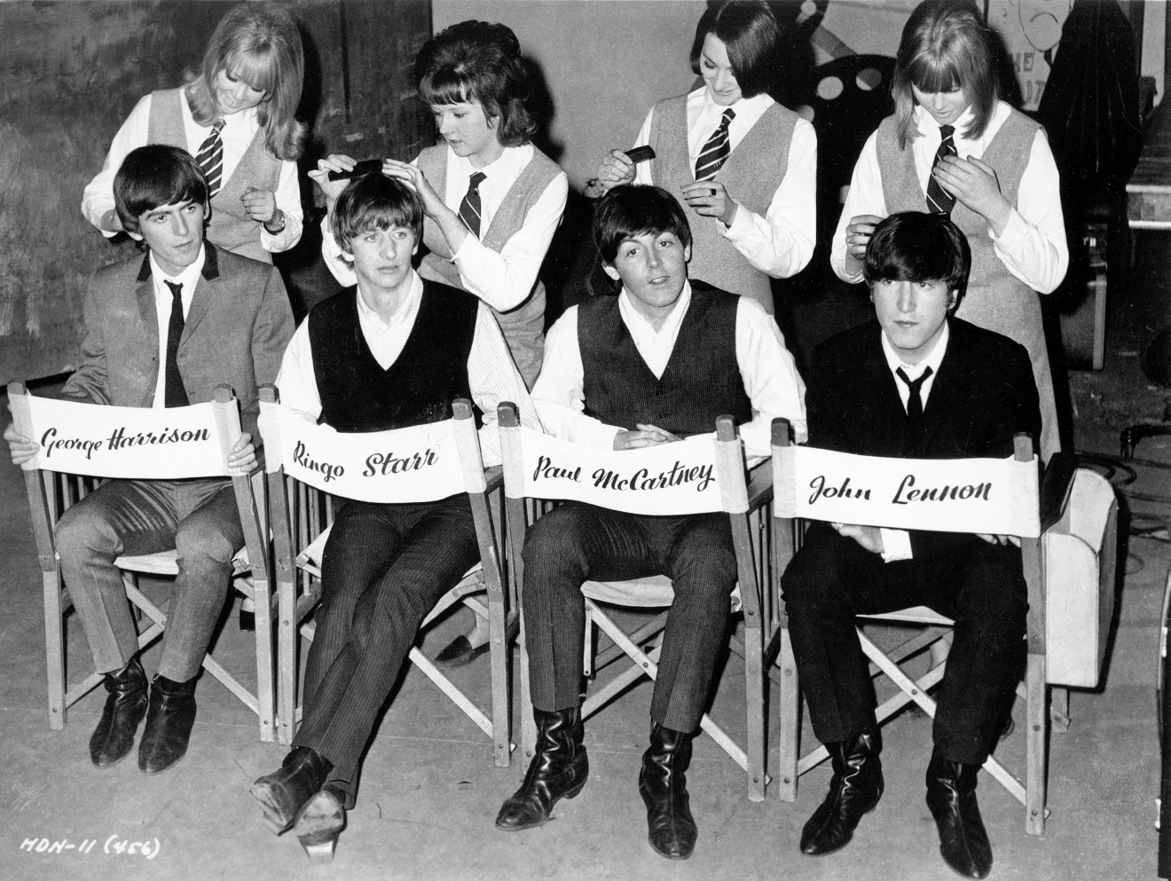 George Harrison, Ringo Starr, Paul McCartney, John Lennon on set A Hard Day's Night (1964) Directed by Richard Lester  When: 01 Jan 1964 Credit: WENN.com  **WENN does not claim any ownership including but not limited to Copyright or License in the attached material. Fees charged by WENN are for WENN's services only, and do not, nor are they intended to, convey to the user any ownership of Copyright or License in the material. By publishing this material you expressly agree to indemnify and to hold WENN and its directors, shareholders and employees harmless from any loss, claims, damages, demands, expenses (including legal fees), or any causes of action or allegation against WENN arising out of or connected in any way with publication of the material.**