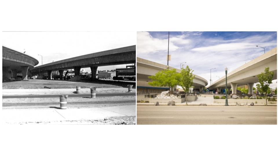 The connector in Boise 1990 to today's Rhodes Skate Park. (Kristen McPeek and Idaho State Archives)