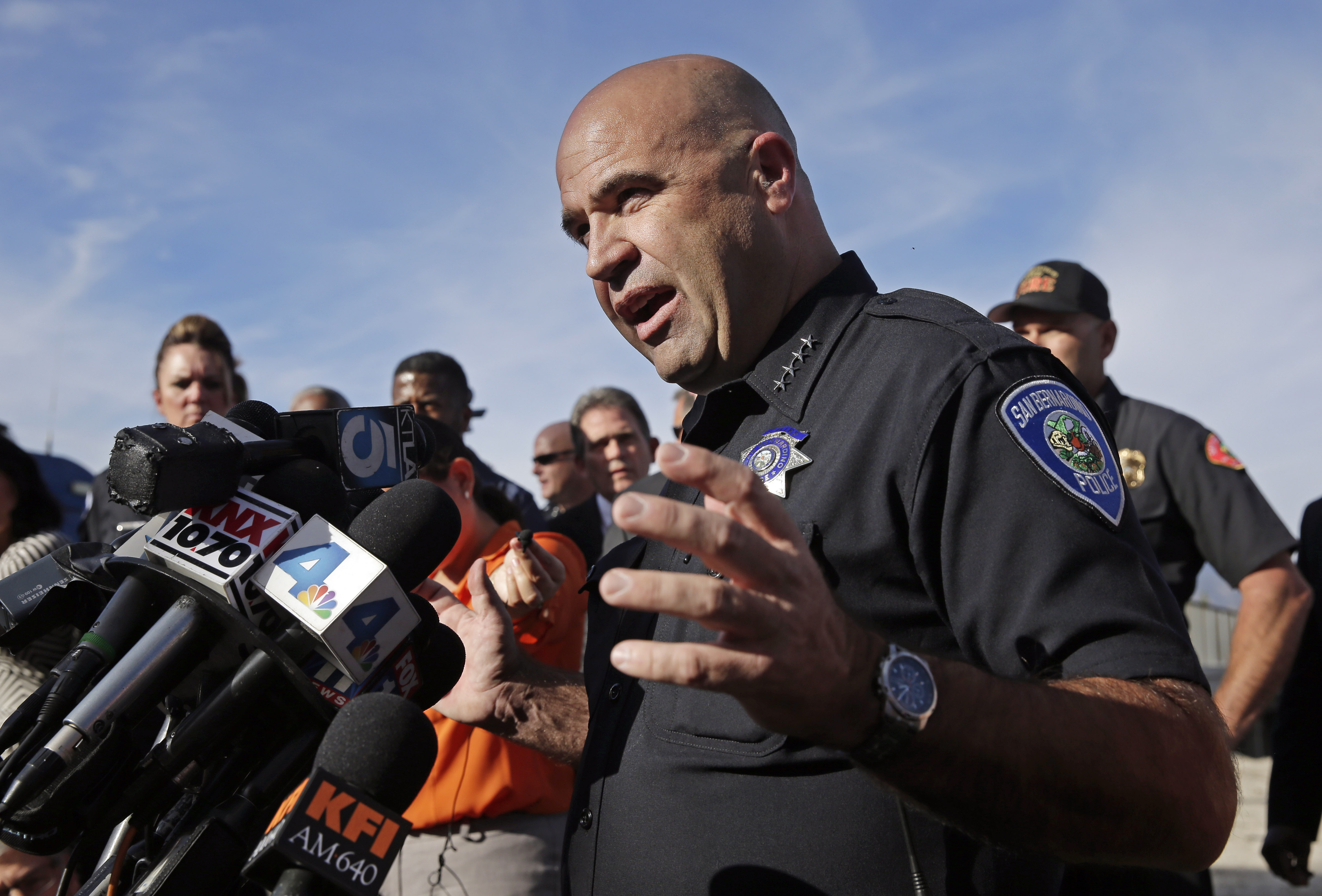 San Bernardino Police Chief Jarrod Burguan talks to the media near the the site of a mass shooting on Wednesday, Dec. 2, 2015 in San Bernardino, Calif. One or more gunmen opened fire Wednesday at a Southern California social services center, shooting several people as others locked themselves in their offices, desperately waiting to be rescued by police, witnesses and authorities said. Authorities said the shooting rampage killed multiple people and wounded others. (AP Photo/Chris Carlson)