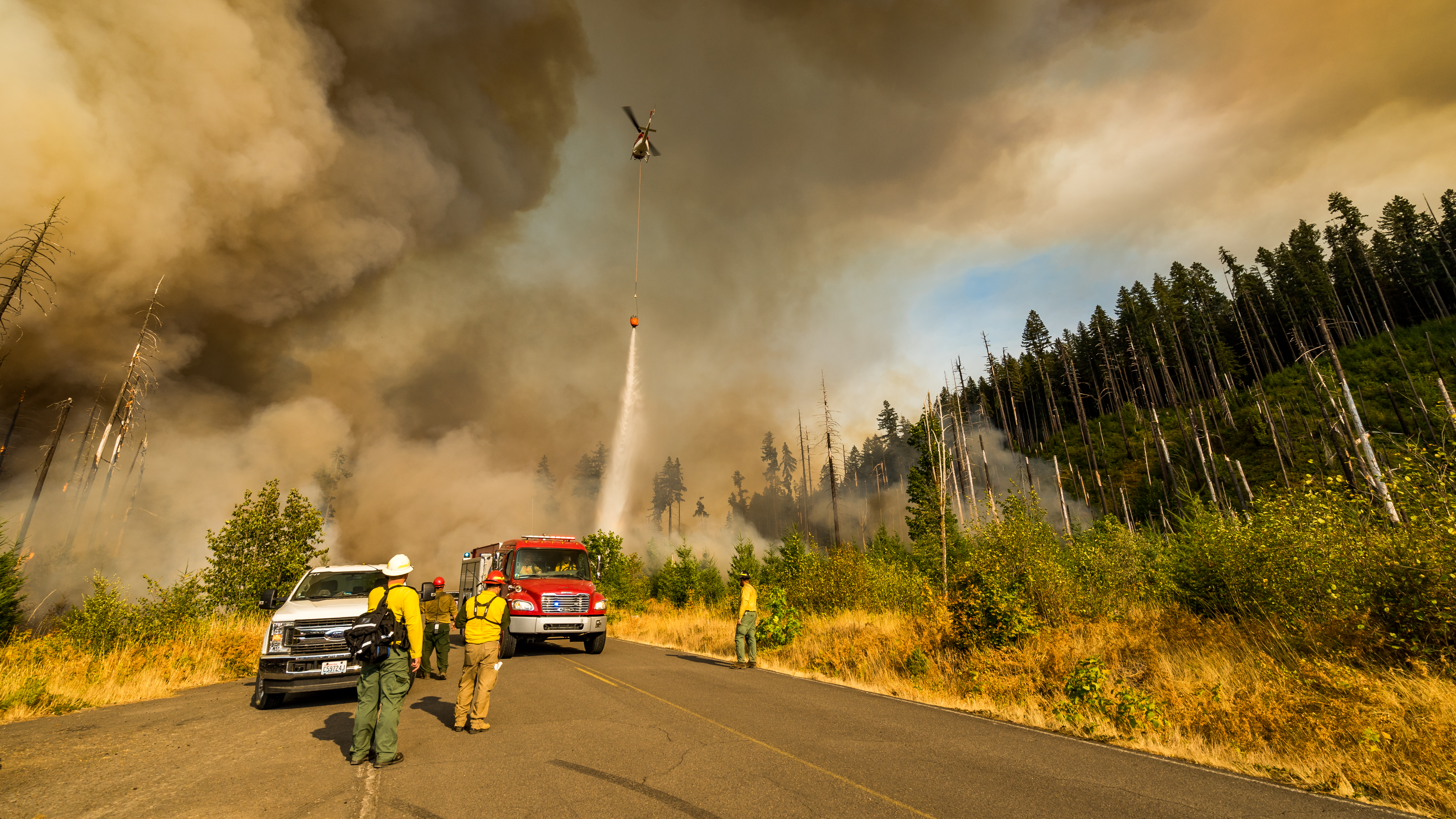 Oregon fire crews have relied on helicopters to attack wildfires from the air. Image courtesy of Marcus Kaufman, Oregon Department of Forestry.