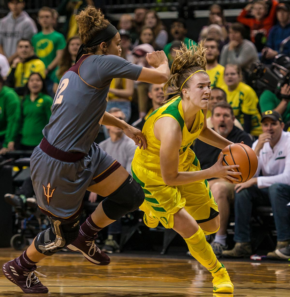 Oregon Ducks Sabrina Ionescu (#20) makes her way to the basket. The Oregon Ducks defeated the Arizona State Sun Devils 74-64 on Sunday night at Matthew Knight Arena. Ruthy Hebard shot a perfect 9-9 bringing in 20 points for the Ducks. Sabrina Ionescu added 26 points, six rebounds, and five assists. The Ducks No. 8 AP poll ranking is a first in program history and they will face rival Oregon State next weekend on January 19th in Corvallis. Photo by Colin Houck, Oregon News Lab