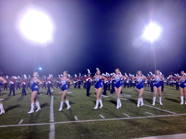 Vestavia Hills Marching Band performs at halftime in Oxford, Friday, Sept. 26, 2014.