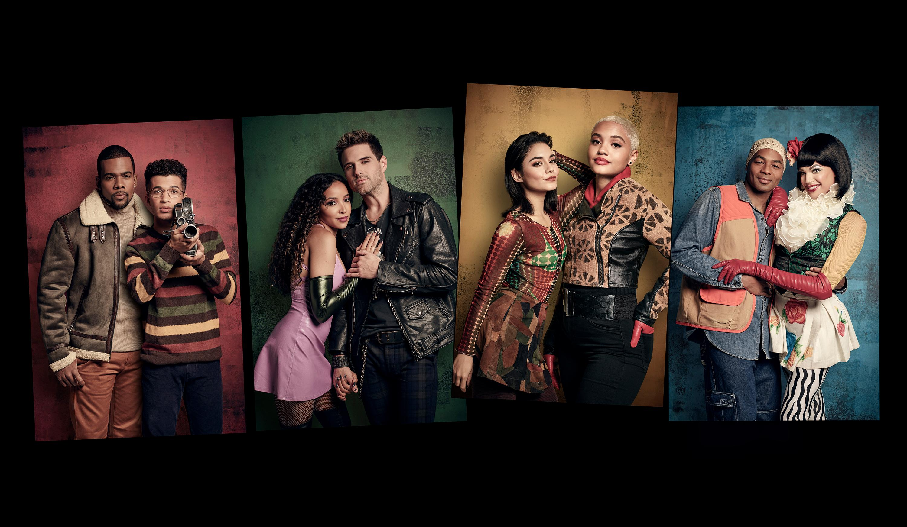 "This image released by Fox shows the cast of ""Rent,"" from left, Mario as Benjamin Coffin III, Jordan Fisher as Mark Cohen, Tinashe as Mimi Marquez, Brennin Hunt as Roger Davis, Vanessa Hudgens as Maureen Johnson, Kiersey Clemons as Joanne Jefferson, Brandon Victor Dixon as Tom Collins and Valentina as Angel Dumont Schunard airing Sunday, Jan. 27 on Fox. (Pamela Littky/FOX via AP)"