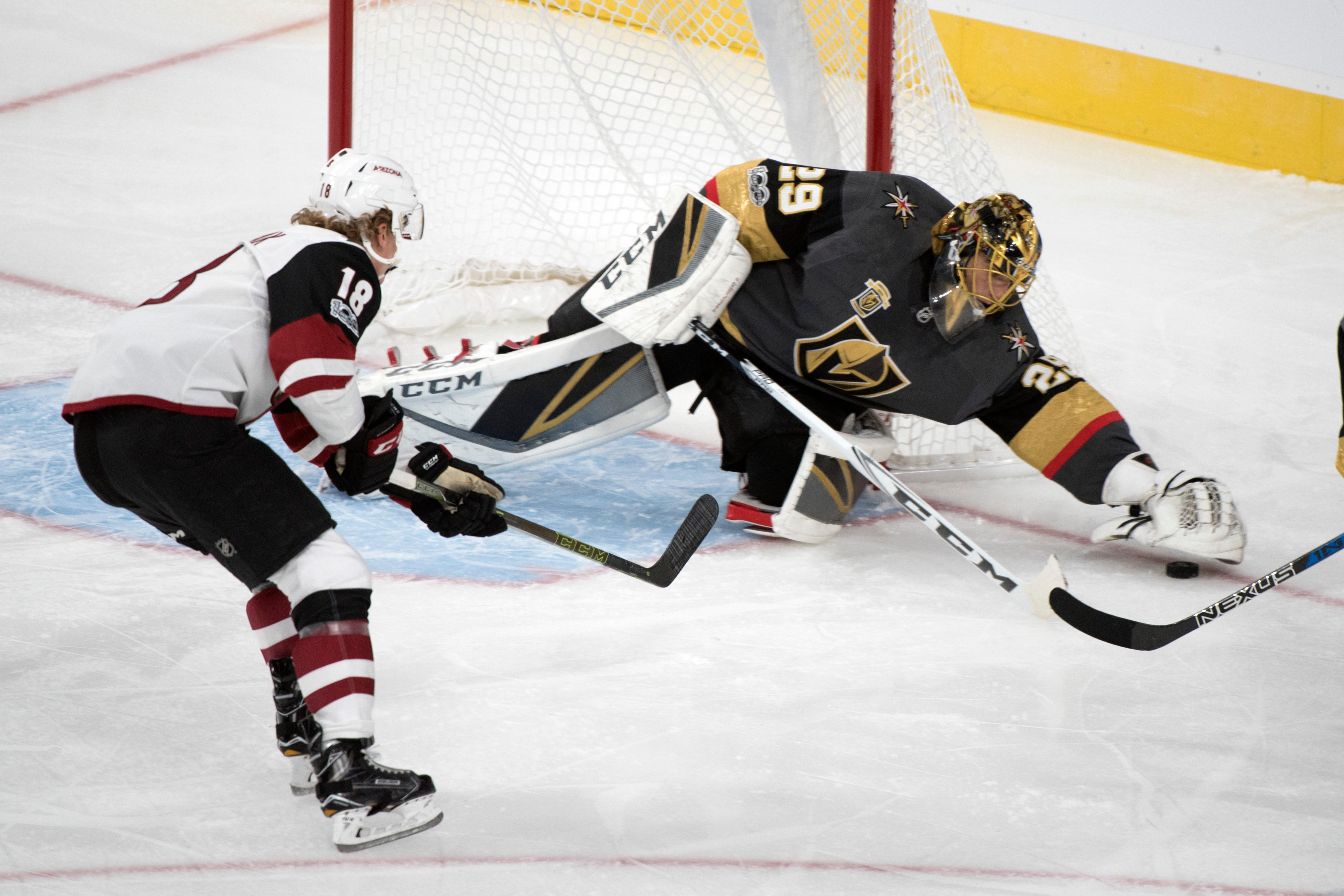 Vegas Golden Knights goalie Marc-Andre Fleury (29) makes one of his 31 saves against the Arizona Coyotes during the Knights home opener Tuesday, Oct. 10, 2017, at the T-Mobile Arena. The Knights won 5-2 to extend their winning streak to 3-0. CREDIT: Sam Morris/Las Vegas News Bureau