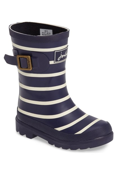 Joules Stripe Welly Rain Boot (Walker, Toddler, Little Kid & Big Kid) ($44.95). Find on nordstrom.com. (Image: Nordstrom)
