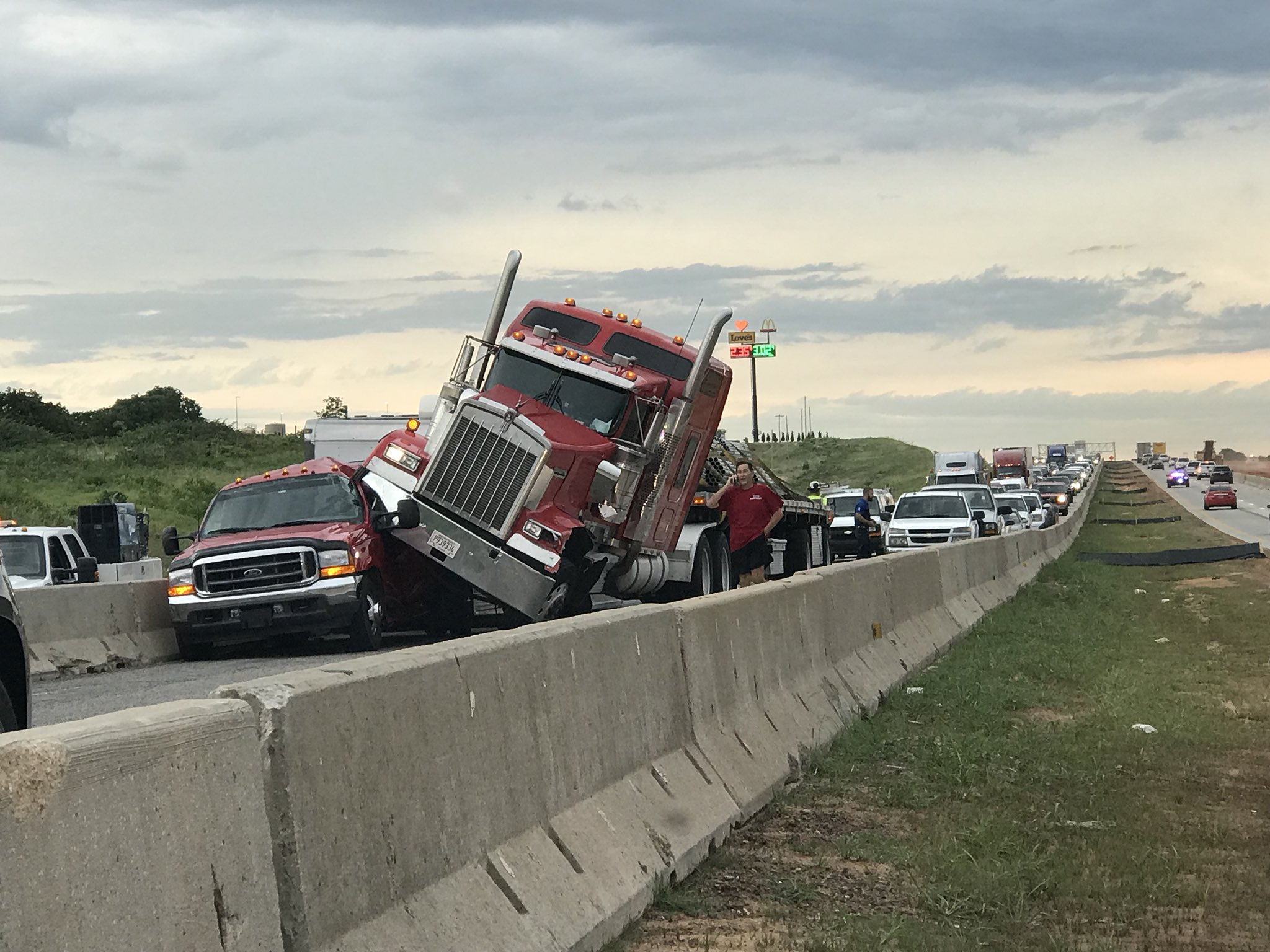 A crash between a semi and a pickup has completely blocked westbound I-40 near Choctaw Road in Oklahoma County. (KOKH/Chip Maxham)