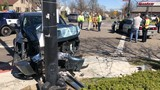 Police: Driver of car fails to yield, causing crash that sends truck into pole