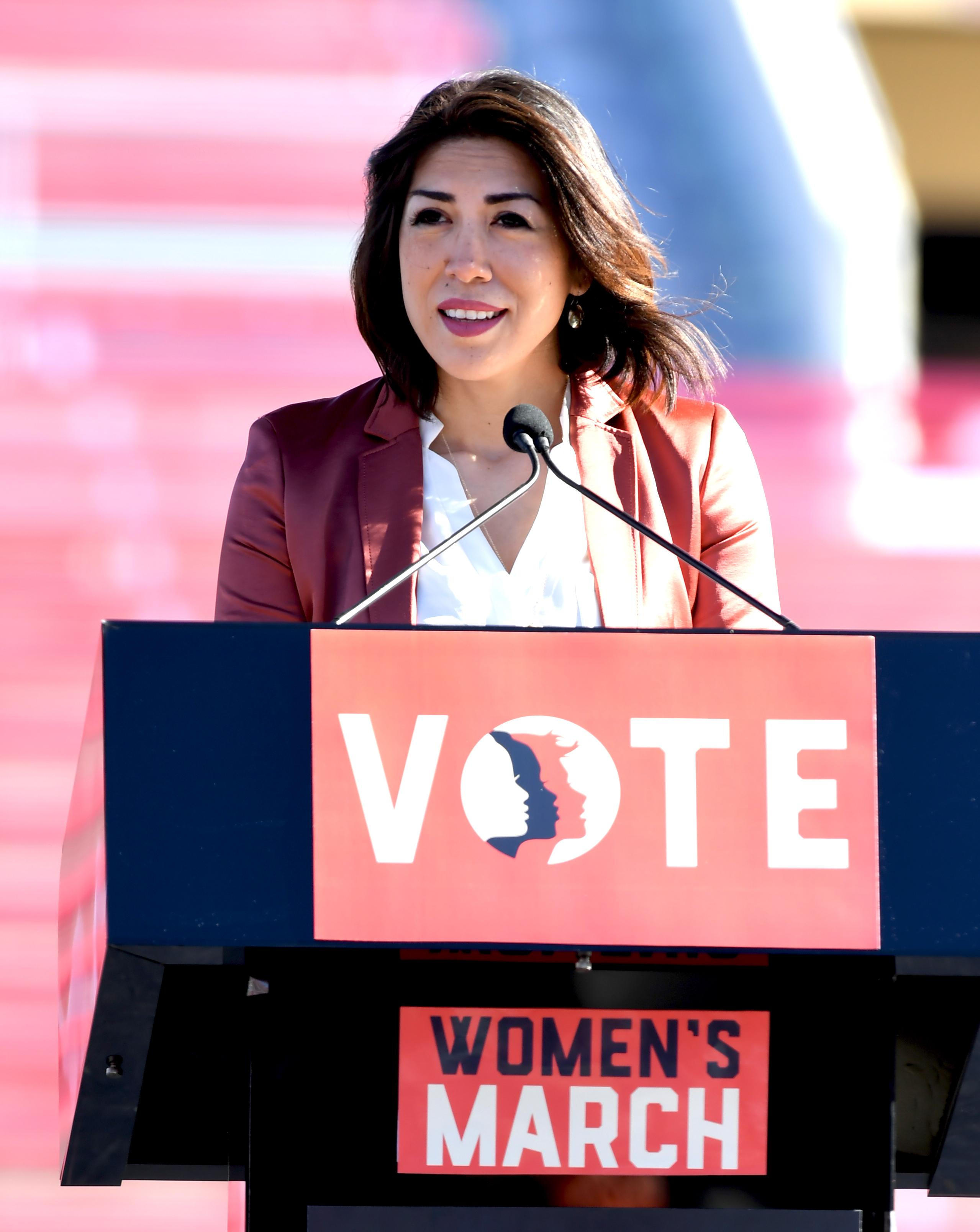 Idaho State Representative Paulette Jordan (D-ID) speaking at the Women's March Power to the Polls Rally at Sam Boyd Stadium in Las Vegas. Sunday, January 21, 2017. CREDIT: Glenn Pinkerton/Las Vegas News Bureau
