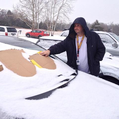 FOX 25 director Jeremy Dodd skipps the cleaning off and goes for the cardboard.