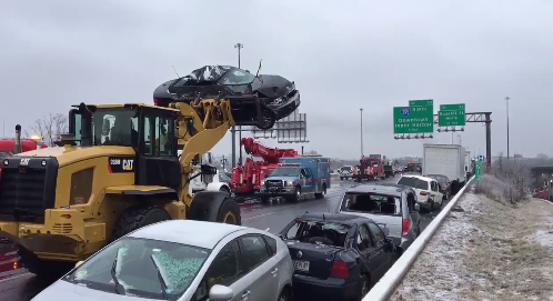 Crews work to clear  67 vehicles damaged in fatal tractor-trailer crash on I-95 in Baltimore. (WBFF)