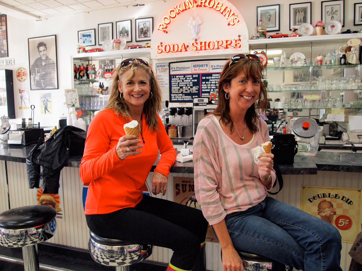 The author and a friend enjoying the ice cream and ambiance of Rockin' Robin's Soda Shoppe. -- Ripley, Ohio. (Image: Sherry Lachelle Photography)