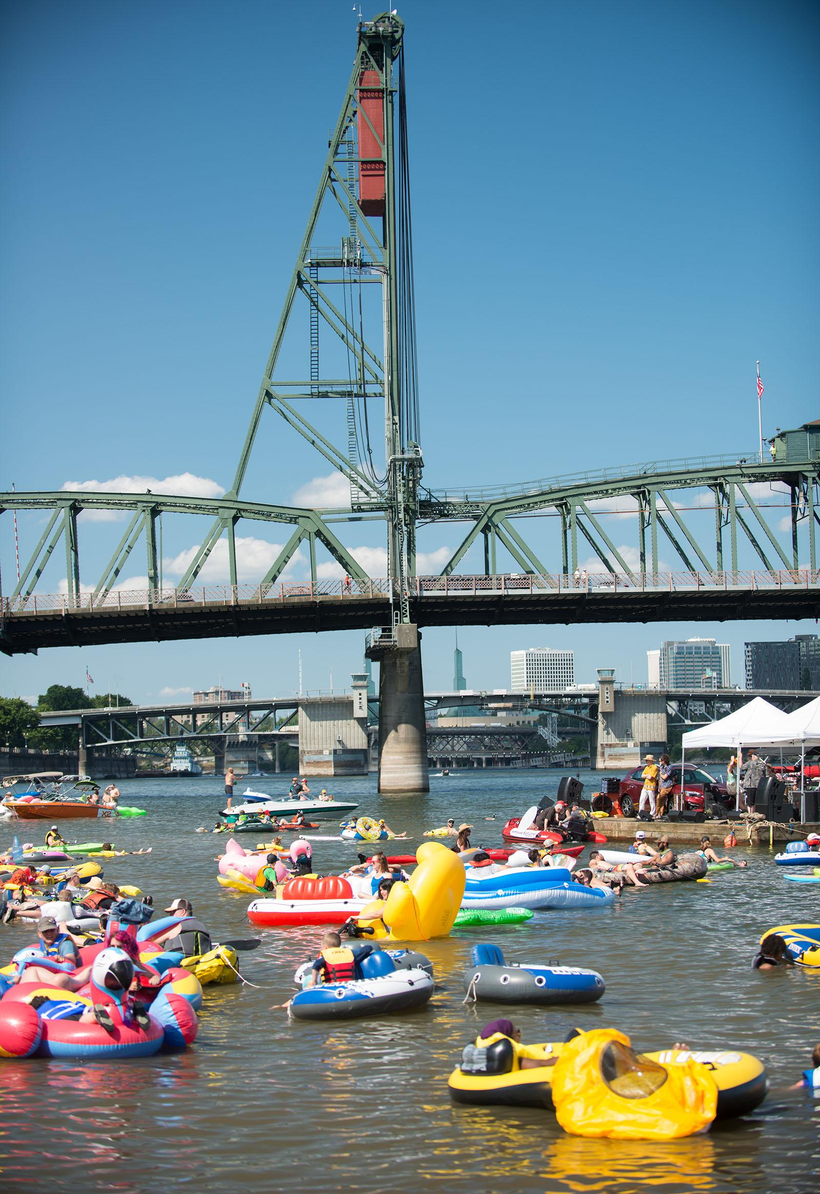 Water lovers of all ages took a dip in the Willamette River Saturday for the 7th Big Float, hosted by the  Human Access Project. This is the first year floaters were able to enjoy the new and improved Poet's Beach. (KATU photo taken July 15, 2017 by Tristan Fortsch)