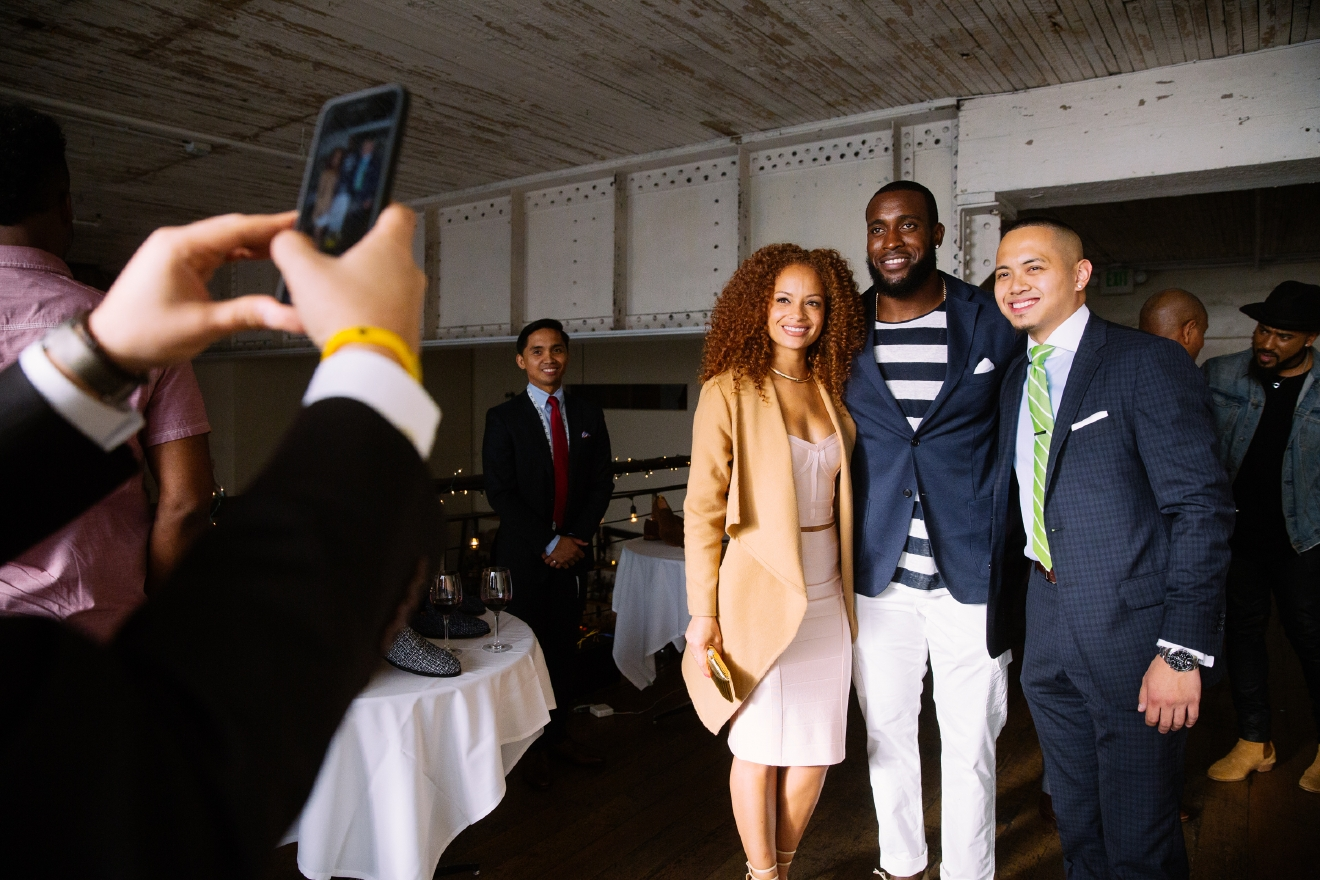 Seattle Seahawks' Kam Chancellor and Awl & Sundry, a New York City based custom men's shoe brand, hosted a launch event showcasing their collaboration at the Sole Repair Shop in Capitol Hill. The event allowed attendees to customize their own men's designer shoe, and a portion of the purchase benefits Kam Cares Foundation, which supports children in underserved communities in the Hampton Roads and Seattle areas. June 13th 2016. (Image: Joshua Lewis / Seattle Refined)