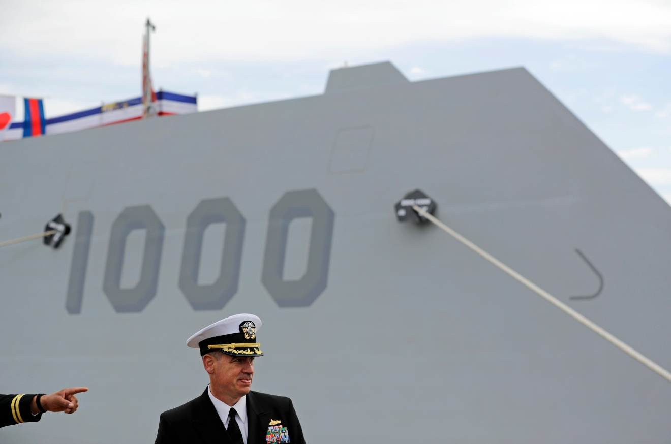 In this Oct. 13, 2016 photo, Capt. James Kirk, commanding officer of the future USS Zumwalt, takes questions during a news conference in front of his ship in Baltimore. The destroyer's commissioning ceremony is set for Oct. 15 in Baltimore, and its home port will be in San Diego. (AP Photo/Patrick Semansky)