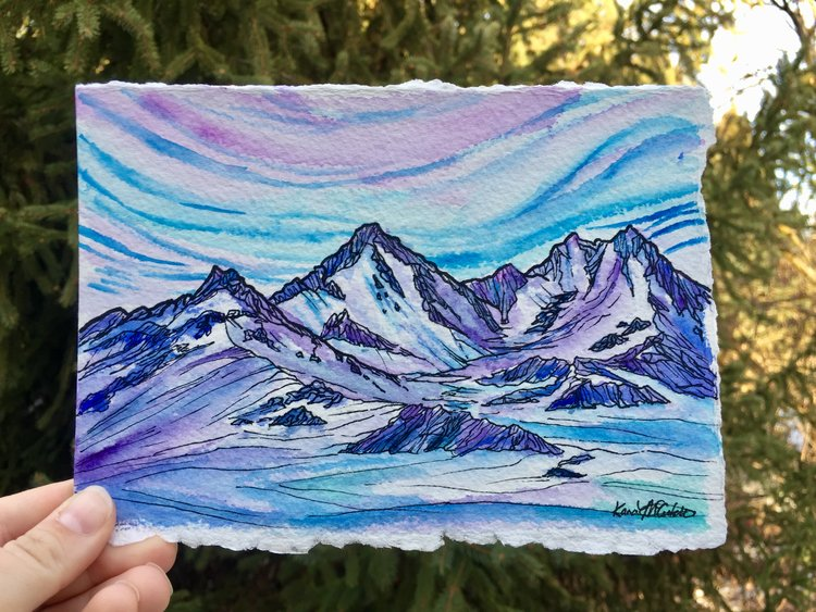 Idaho artist, Kara McCutchen, captures Pacific Northwest mountains in such a bright and beautiful way. Choose the one that speaks to you, or frame a series, to bring the great outdoors inside. Originals and commissions available.{ }(Image: Mountain Prints)