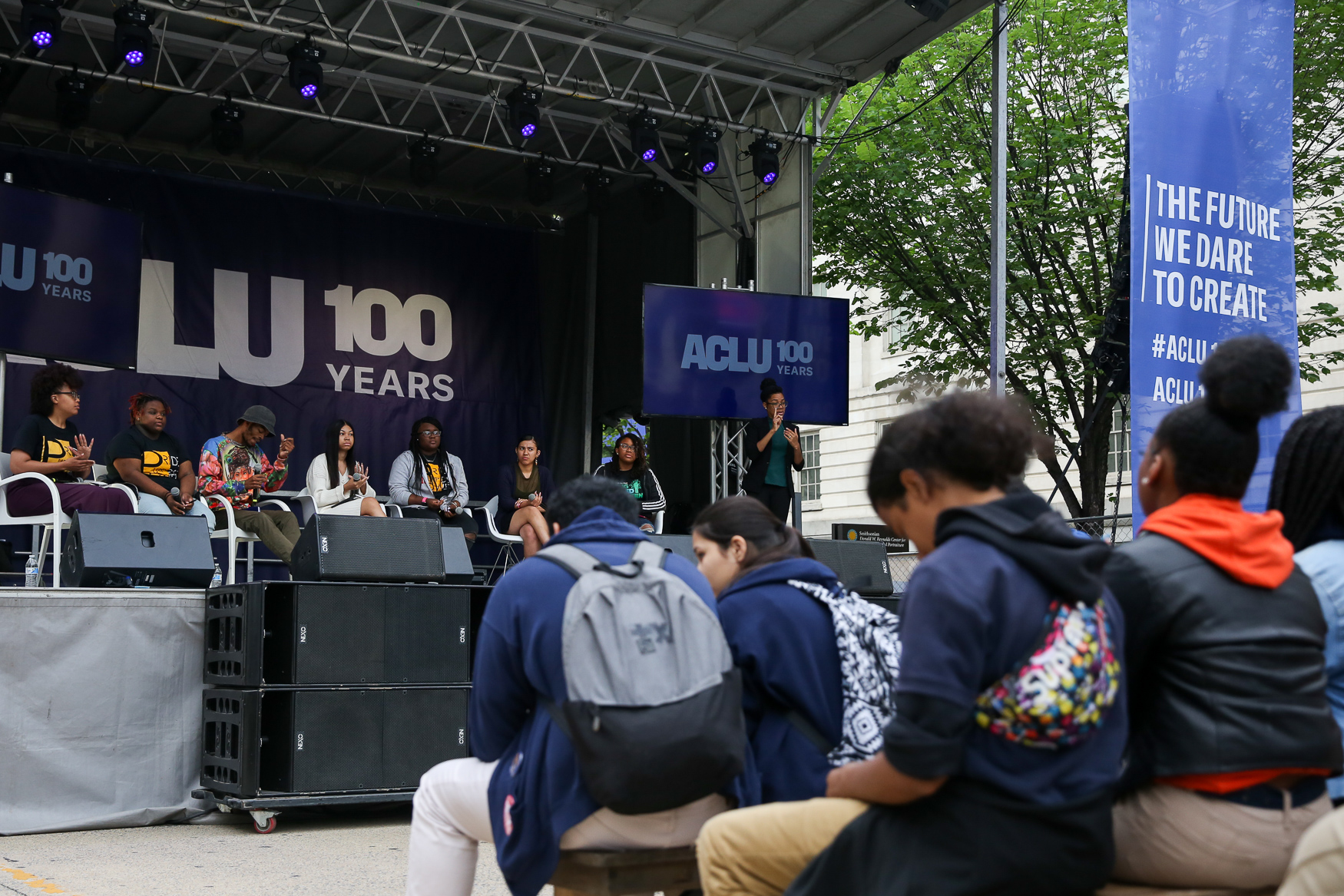 The American Civil Liberties Union (ACLU) is turning 100 next year and they're marking the occasion with a pop-up in downtown D.C. this weekend. The pop-up is meant as a way to raise awareness for some of the issues the ACLU is currently focused on, such as voting rights, protecting immigrants, supporting the LGBTQ+ community and prison reform. The free pop-up includes informational exhibits, speakers, discussions and live performances.Visitors can make buttons, protest signs, learn how to contact legislators and donate money to the cause. The ACLU's pop-up{ }