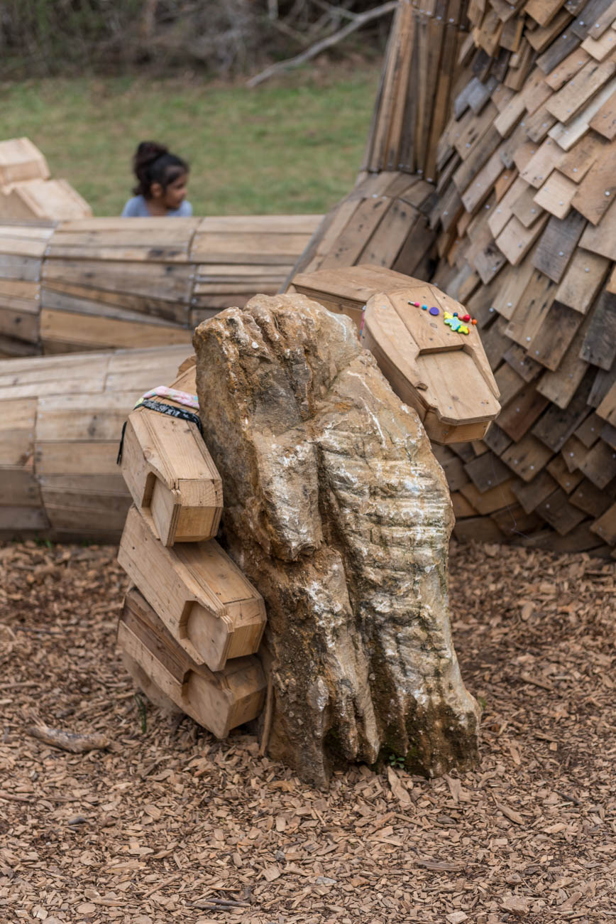 Thomas Dambo is also known for a similar wooden giant he constructed in Breckenridge, Colorado called Isak Heartstone. The 15-foot troll was designed for a summer arts festival there. / Image: Mike Menke // Published: 4.23.19