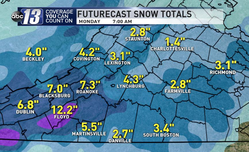 Forecast snow amounts for Sunday and Monday