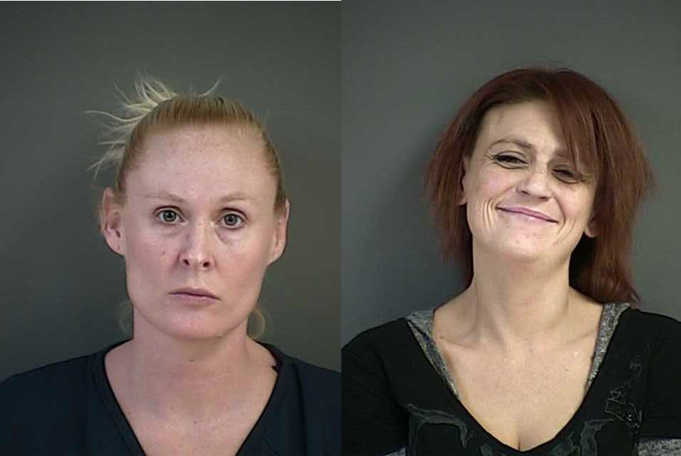 Nicole Danielle Smith, left, was arrested on a felony warrant out of Arizona. Jennifer Jean Marshall, right, of Winston, was booked and released on drug-related charges. (Douglas County Sheriff's Office booking photos)<p></p>