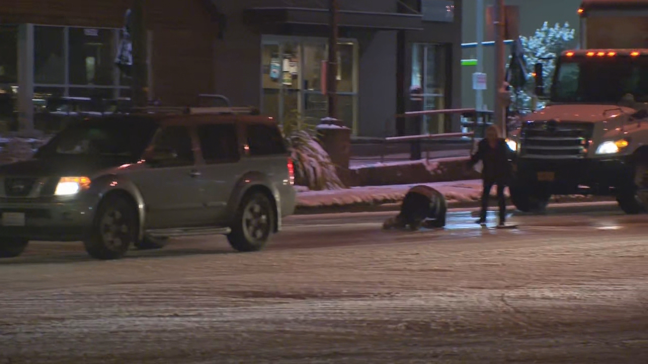 A KATU News reporter saw a hit-and run crash in Vancouver on Feb. 5, 2019. The driver left the scene after hitting a pedestrian in a marked crosswalk. KATU photo{ }