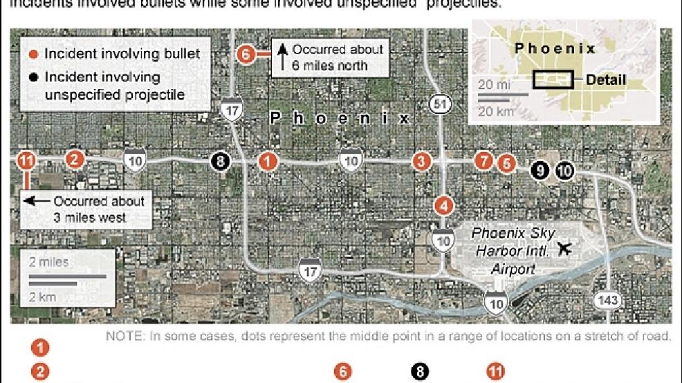 Map Of Arizona Freeway Shootings.Arizona Police Confirm 11th Freeway Shooting Seek Tips Katu