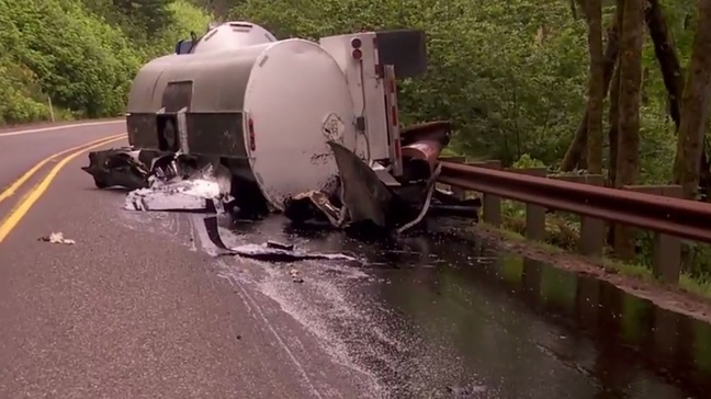 Rolled semi-trailer spills tar-like substance, SR-14 closed east of Washougal