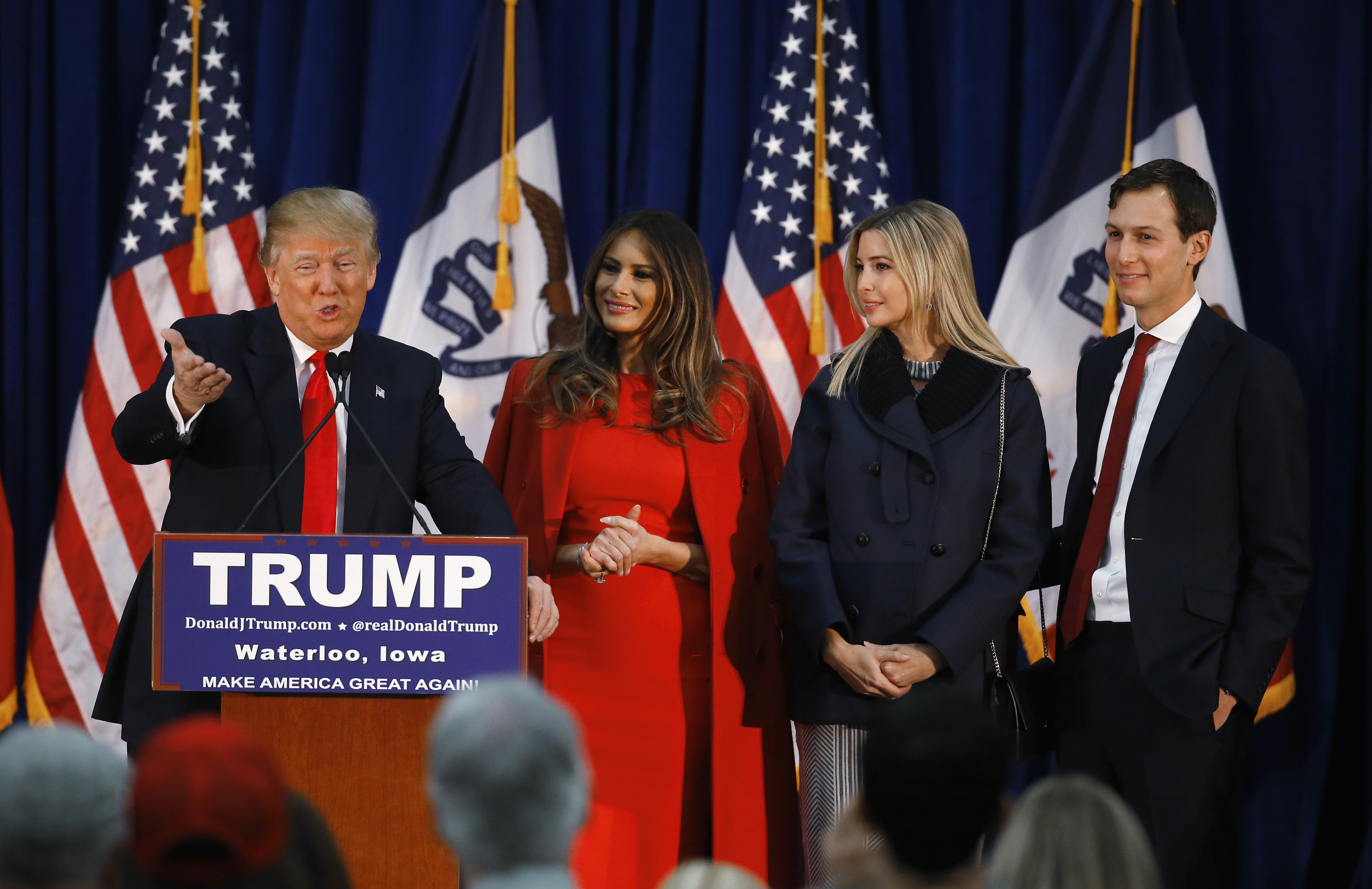 Republican presidential candidate Donald Trump, accompanied by, from second from left, wife Melania, daughter Ivanka her husband Jared Kushner, speaks during a campaign event, Monday, Feb. 1, 2016 in Waterloo, Iowa. (AP Photo/Paul Sancya)