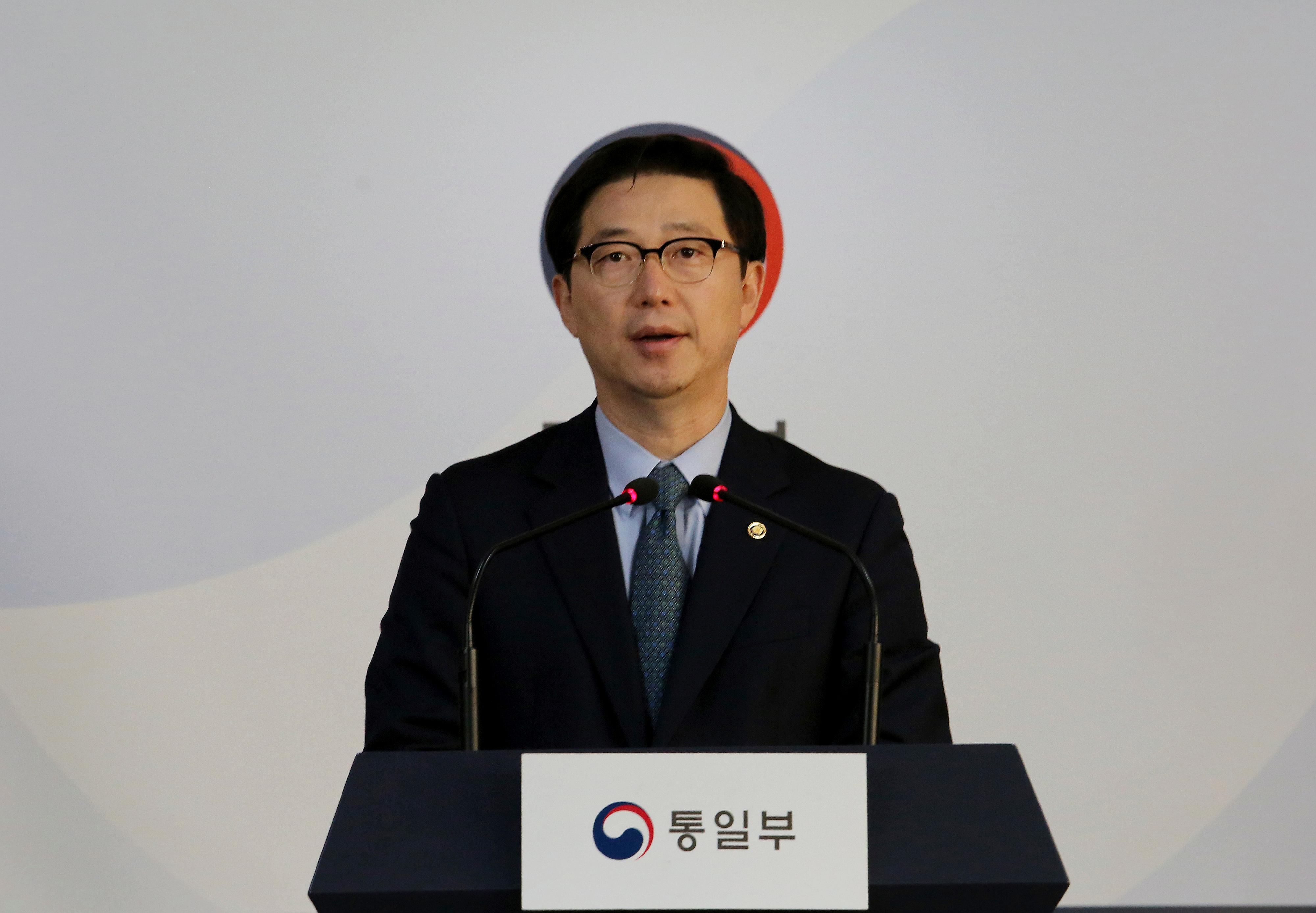 South Korean Vice Unification Minister Chun Hae-sung speaks during a press conference at the Unification Ministry in Seoul, South Korea, Friday, March 22, 2019. (AP Photo/Ahn Young-joon)