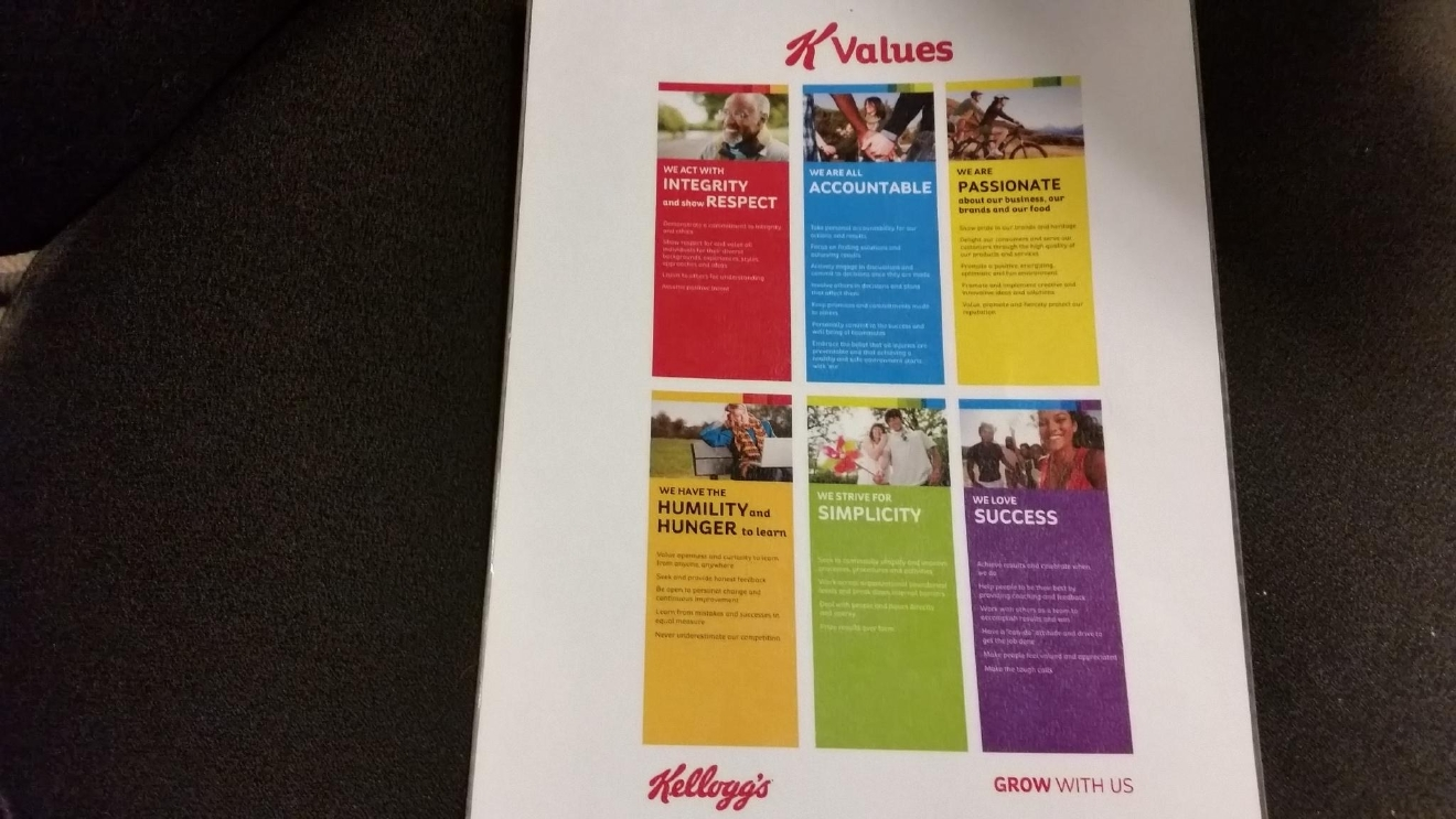 "Kellogg expects employees to follow its K Values, which include  acting with ""integrity"" and showing ""respect"" for all individuals for their diverse backgrounds. (WJAR)"