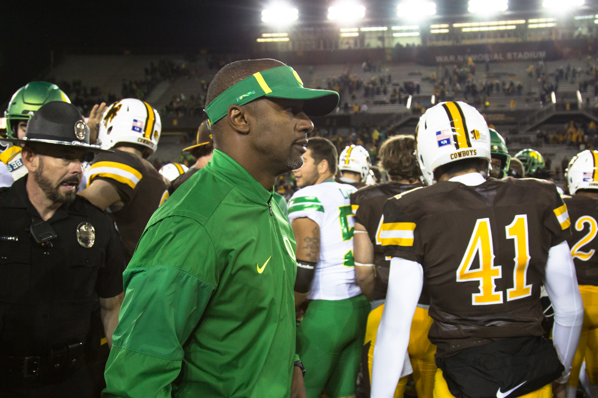 The Oregon Ducks recorded their first road win under head coach Willie Taggart with their 49-13 victory over the Wyoming Cowboys on a cold night at War Memorial Stadium in Laramie, Wyoming.  Photo by Austin Hicks, Oregon News Lab