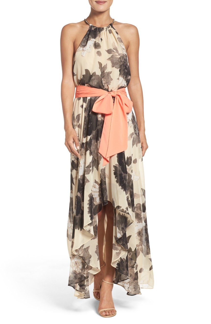 Floral Print Chiffon Maxi Dress, $138