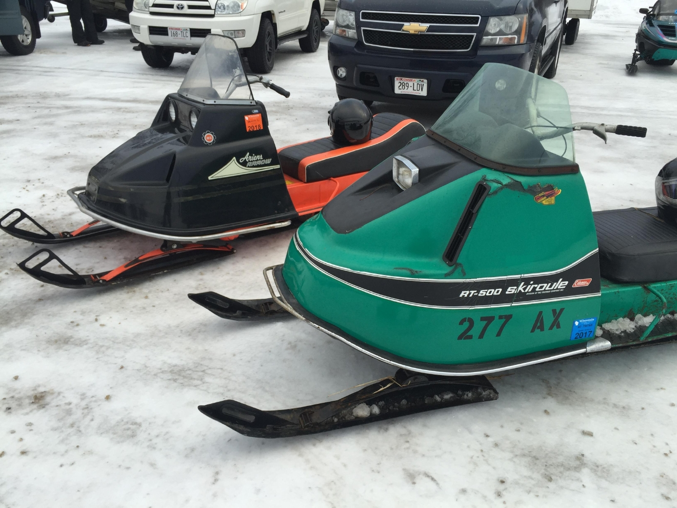 Vintage snowmobiles hit the trail in crivitz for annual for Vintage sleds