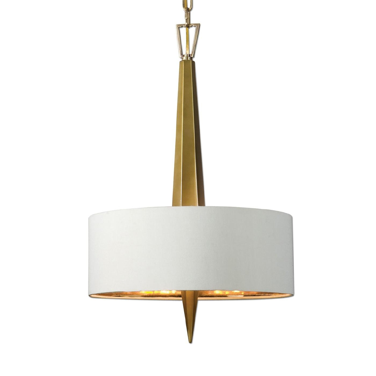 Uttermost 21264 Obeliska 3 Light Gold Chandelier ($217.80) An elegant chandelier with a sleek vertical ceramic center in warm gold finish evokes an art deco feeling with beige linen hardback shade featuring a gold interior.  (Image: ATGStores.com)