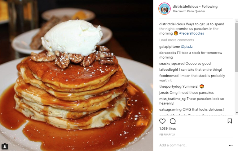 Image: IG user @districtdelicious // Post:{ }Ways to get us to spend the night: promise us pancakes in the morning // Published: 2.24.18
