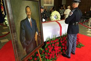 Wayne Curry lies in repose at the Prince George's County building ahead of his funeral. (Photo: Mike Conneen/WJLA)