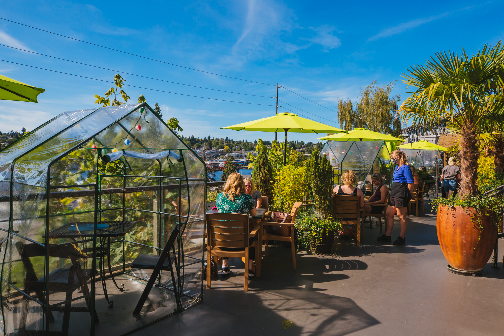 "<a  href=""https://www.facebook.com/EastlakeBarandGrill/"" target=""_blank"">Eastlake Bar & Grill (2947 Eastlake Ave. E)</a>{&nbsp;}is now offering a new outdoor ""greenhouse"" dining experience featuring tents for two on the patio. Owner{&nbsp;}John Schmidt said the atmosphere aims to provide privacy and fresh air for customers and is their ""comfortable solution to outdoor dining."" (Image:{&nbsp;}Sunita Martini / Seattle Refined)"