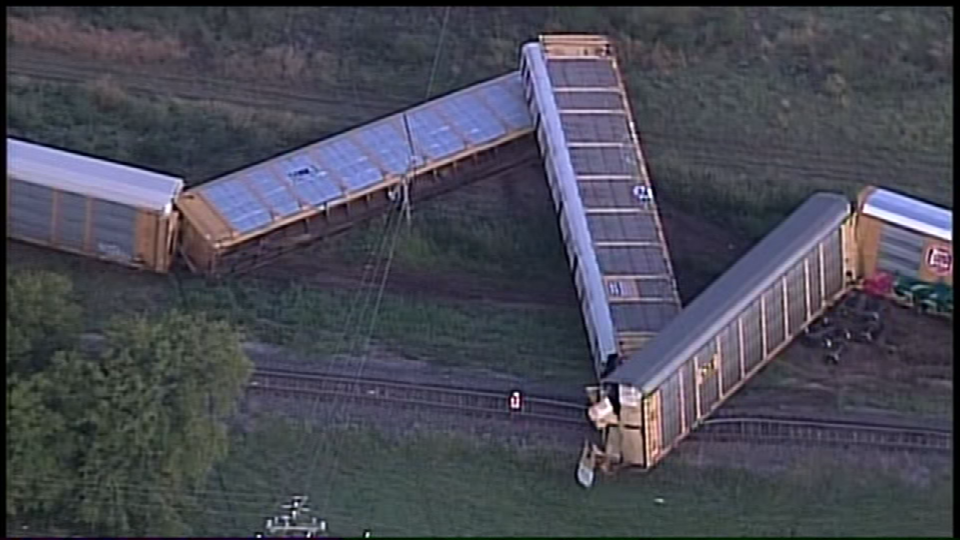 A train derailed near Quintana Road and Briggs Avenue on Friday, September 8, 2017. (Photo: Sinclair Broadcast Group)
