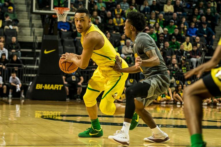 Oregon's Elijah Brown led the Ducks with 19 points in their matchup with ASU, Thursday. Oregon defeated ASU 75-68 to improve their season record to 18-10 (8-7 PAC-12). The Ducks face off against fourteenth ranked Arizona for their final home game of the season at Matthew Knight Arena on Saturday. (Photo by Colin Houck)
