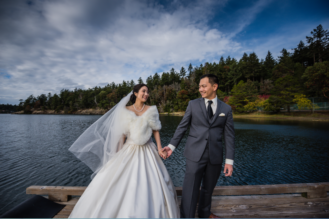Maiko & Andrew's beautiful wedding was in Roche Harbor! The couple lucked out because the wedding forecast said wind and rain - but the sun held out! There were so many great photo ops around Roche Harbor, the couple and photographer strolled around snapping photos here and there. They had their first look at  the Mausoleum and the photos are so beautiful!  Do you or somebody you know have a wedding you think deserves the spotlight? We LOVE (pun intended) documenting love stories, so email us at hello@seattlerefined.com to submit some wedding or engagement shots! (Image: Rick Takagi Photography /http://ricktakagi.zenfolio.com/)